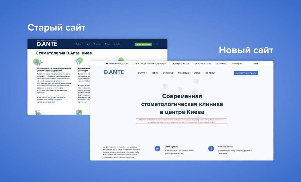 редизайн сайта для стоматологии